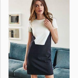 Boden Ivory Black Colorblock Ponte Shift Dress